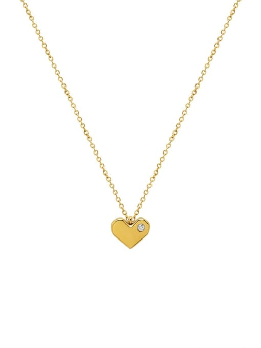 Gold necklace 40+5cm Titanium Steel Rhinestone Heart Minimalist Necklace