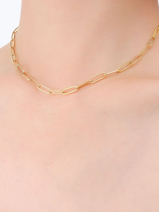 P494 texture gold necklace 39cm Titanium Steel Geometric Minimalist Necklace