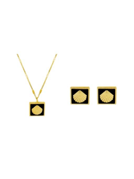 MAKA Titanium Steel Enamel Minimalist Square Earring and Necklace Set 0