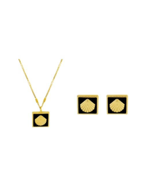 MAKA Titanium Steel Enamel Minimalist Square Earring and Necklace Set