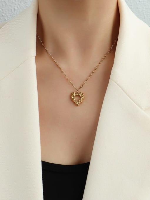 P1092 gold necklace 40+ 5cm Titanium Steel Hollow Heart Hip Hop Necklace