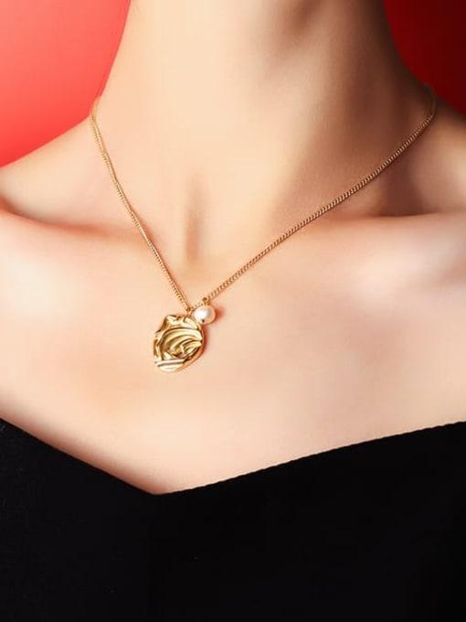 MAKA Titanium Steel Imitation Pearl Irregular Minimalist Necklace 1