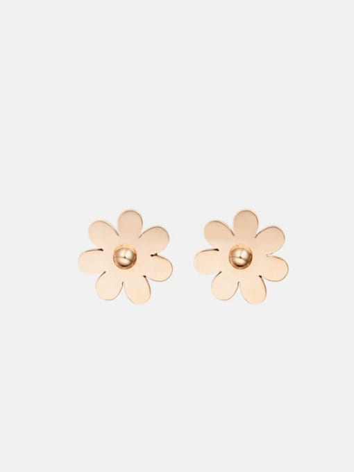 Rose Geometric flower shaped elegant titanium steel earrings