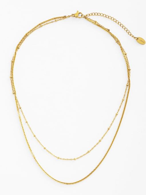 gold Exquisite and simple metallic disc combination stacking titanium steel clavicle necklace