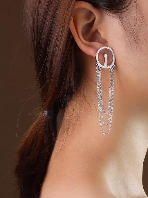 f111 steel tassel Titanium 316L Stainless Steel Geometric Tassel Minimalist Threader Earring with e-coated waterproof
