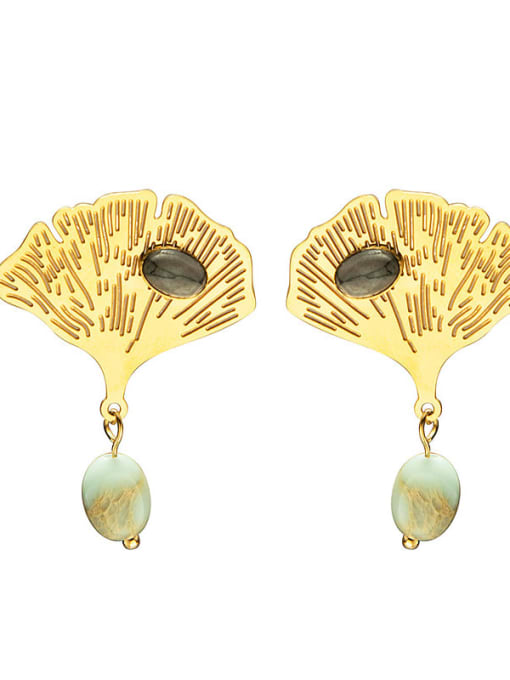 YAYACH Leaf fashion natural stone titanium steel earrings 0