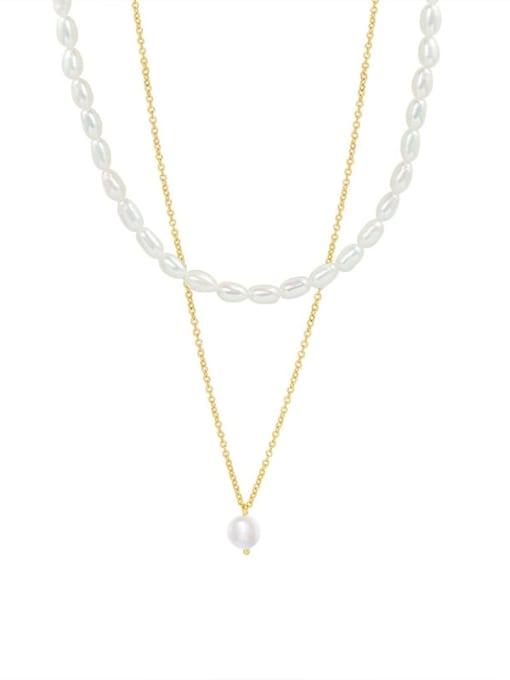 MAKA Titanium Steel Freshwater Pearl Geometric Minimalist Multi Strand Necklace 0