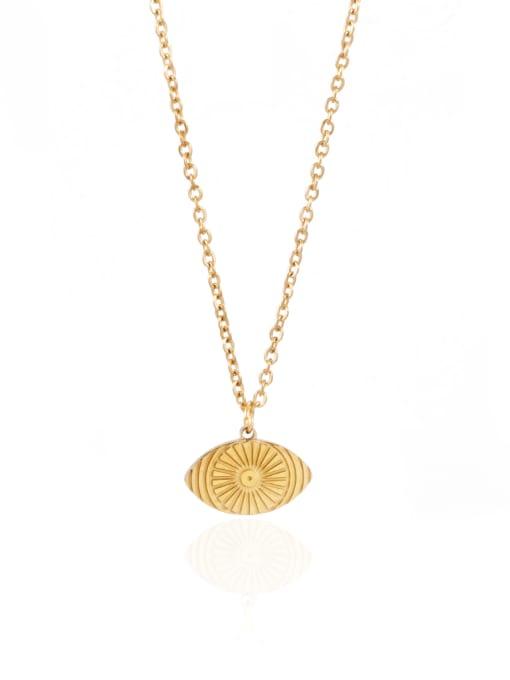 YAYACH Geometric Eye Titanium Steel Necklace