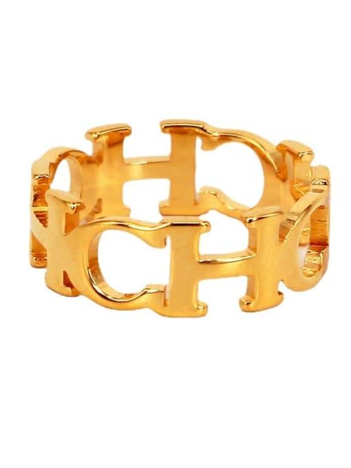 K.Love Titanium Steel Letter Minimalist Band Ring 1