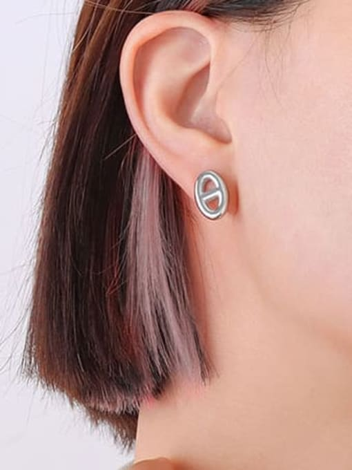 F364 Steel Earrings pair Titanium Steel Minimalist Geometric  Earring and Necklace Set