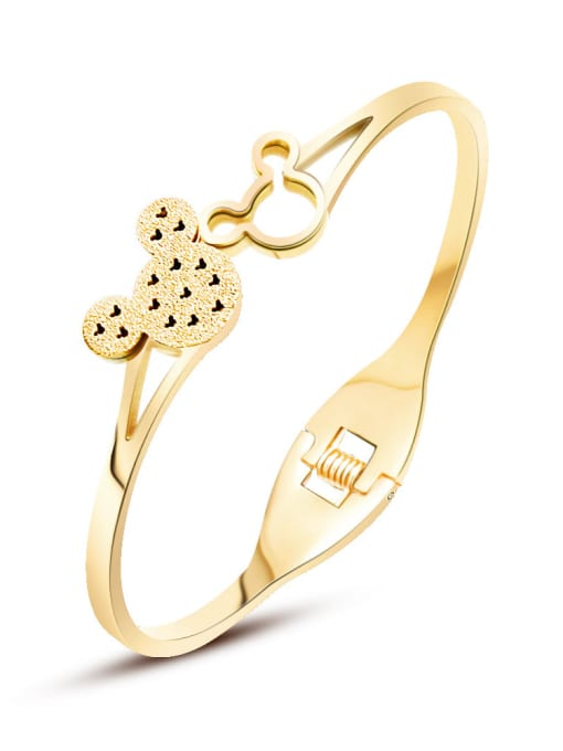 MAKA Titanium 316L Stainless Steel Rhinestone Mickey Mouse Vintage Band Bangle with e-coated waterproof