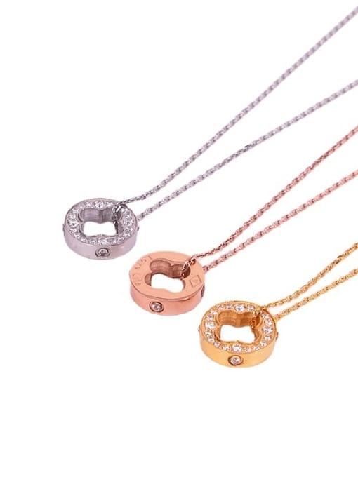 K.Love Titanium Steel Cubic Zirconia Clover Vintage Necklace 3