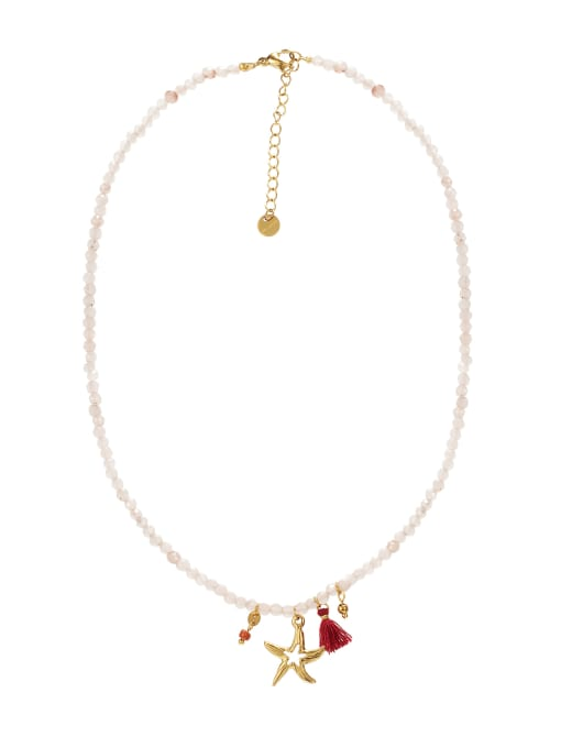 White Starfish Titanium Steel Necklace Handmade Beads Natural Stone Round Beads Summer Beach Holiday Clavicle Chain