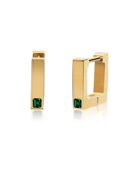 Green Square Earrings women's color preserving anti allergy versatile Earrings