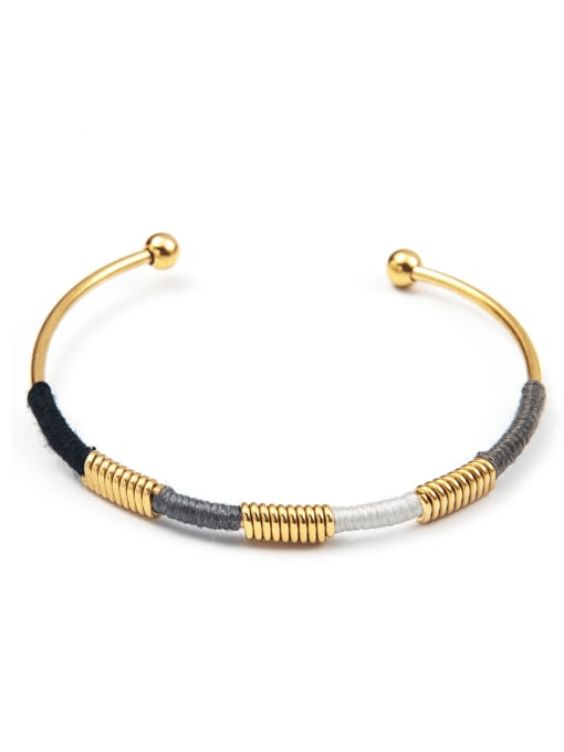 YAYACH Stainless steel color thread ethnic style open bracelet 2