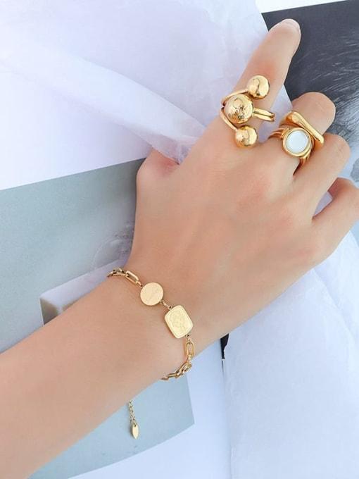E097 gold bracelet 15+ 5cm Titanium Steel Geometric Minimalist Link Bracelet