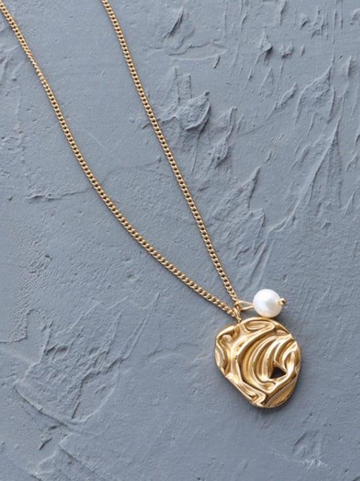 MAKA Titanium Steel Imitation Pearl Irregular Minimalist Necklace 3