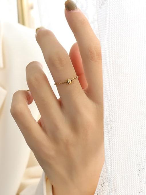 A golden bead ring Titanium Steel Bead Round Minimalist Band Ring