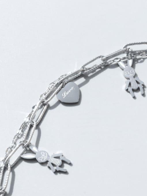 MAKA Titanium Steel Heart Vintage Strand Bracelet 2