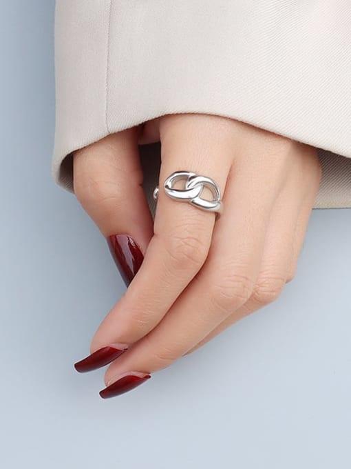 Steel color Titanium Steel  Hollow Geometric Minimalist Band Ring