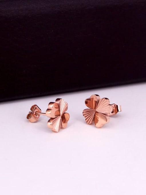 K.Love Titanium Steel Clover Minimalist Stud Earring 2
