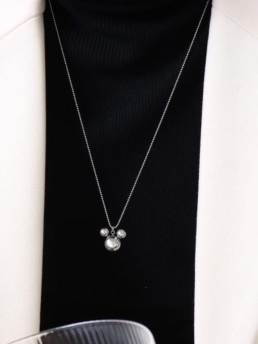P458 steel rice mouse Necklace 50 +5cm Titanium Steel Bead Geometric Minimalist Necklace