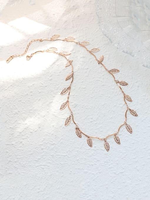MAKA Titanium Steel Leaf Vintage Necklace 0