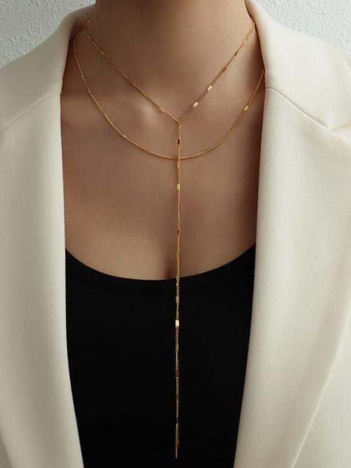MAKA Titanium Steel Tassel Minimalist Lariat Necklace 1