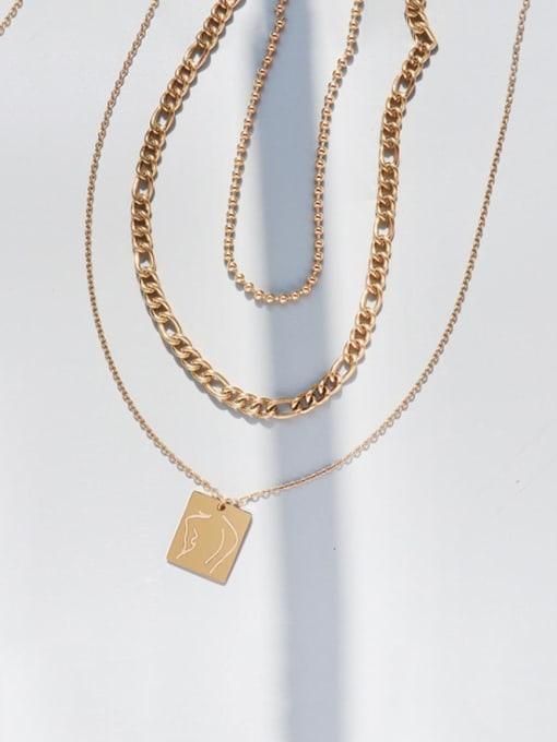 Gold three layer Necklace Titanium Steel Geometric Vintage Multi Strand Necklace