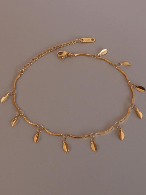 Gold leaf Anklet 20+ 5cm Titanium Steel Minimalist  Leaf  Anklet