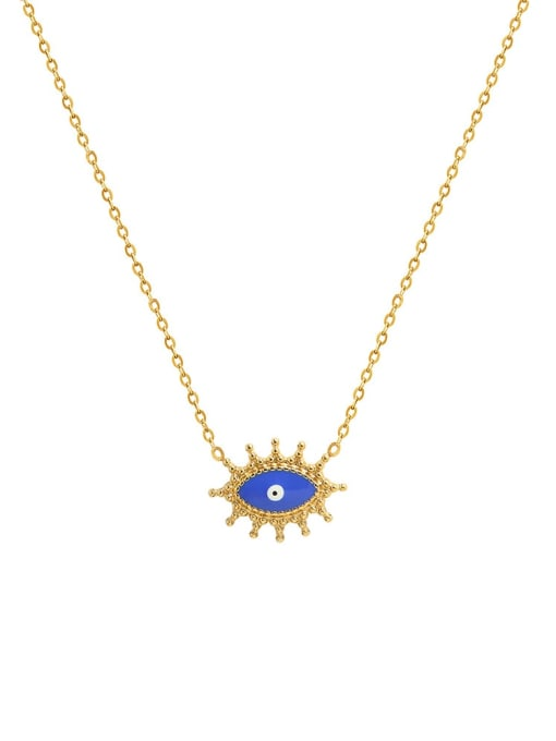 MAKA Titanium 316L Stainless Steel Evil Eye Vintage Necklace with e-coated waterproof