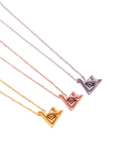 K.Love Titanium Steel Rhinestone Letter Minimalist Necklace 0
