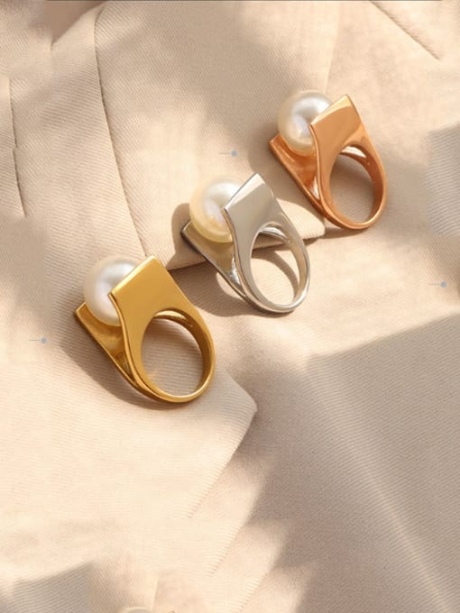 MAKA Titanium Steel Imitation Pearl Geometric Vintage Band Ring 2