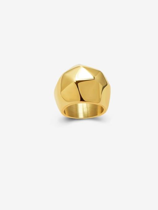 Gold Titanium Steel Irregular Artisan Band Ring