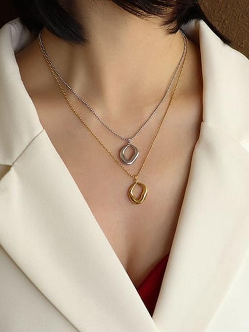 MAKA Titanium Steel Bead Chain  Vintage Irregular Pendant Necklace 1