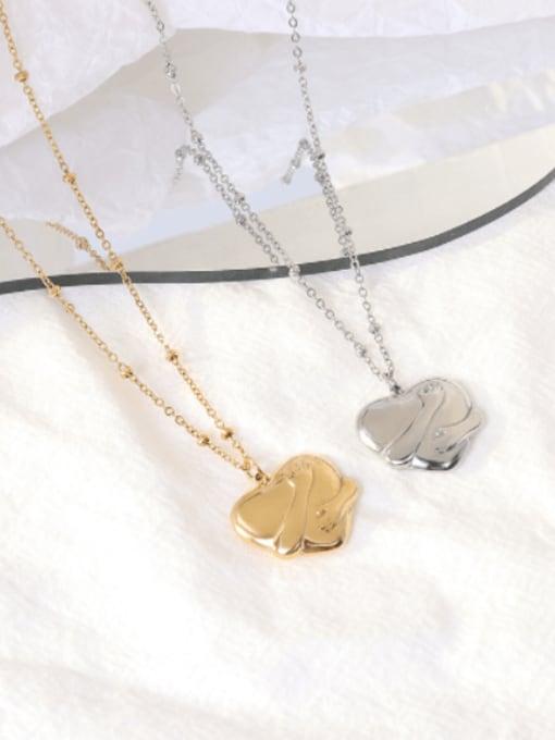 MAKA Titanium Steel Vintage Smooth Heart  Pendant Necklace 2