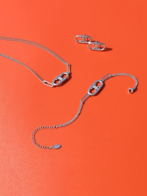 E194 steel color Bracelet 14+ 5cm Titanium Steel Minimalist Hollow Geometric Pendant Necklace