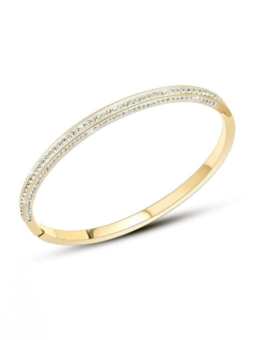 Z141 gold bracelet (inner 18cm) Titanium 316L Stainless Steel Cubic Zirconia Geometric Minimalist Band Bangle with e-coated waterproof