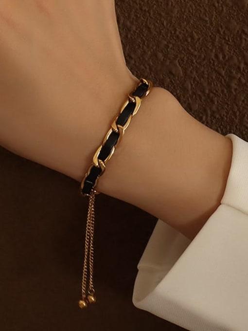 MAKA Titanium Steel Leather Geometric Vintage Adjustable Bracelet 1