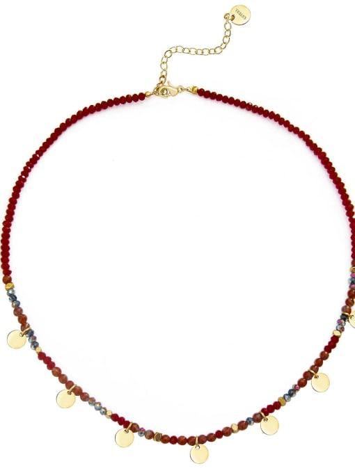 Red Natural stone beads temperament titanium steel necklace