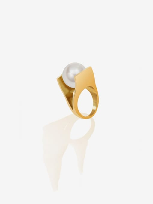 MAKA Titanium Steel Imitation Pearl Geometric Vintage Band Ring