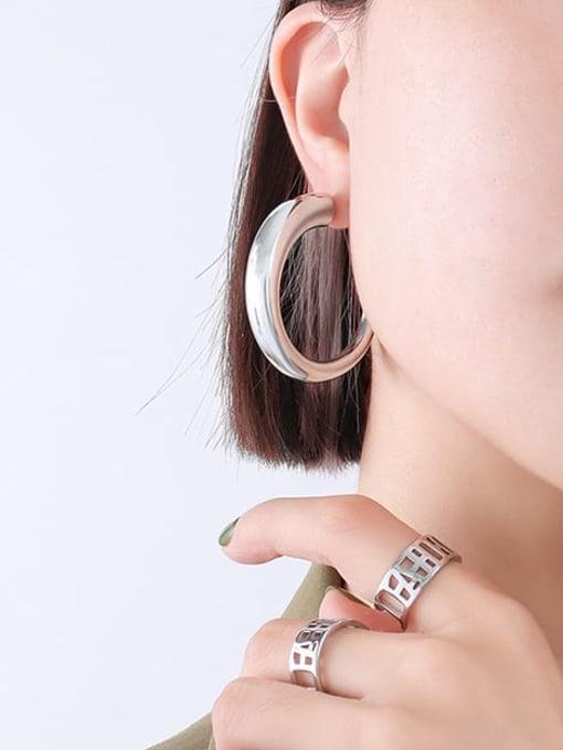F237 Steel Earrings large Titanium Steel Geometric Minimalist Hoop Earring