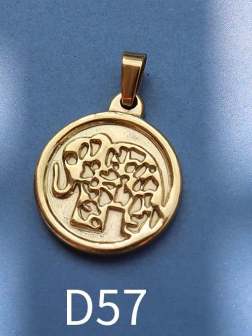 D57 gold Stainless steel Geometric  Vintage Pendant