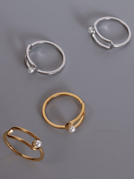 MAKA Titanium 316L Stainless Steel Imitation Pearl Geometric Minimalist Band Ring with e-coated waterproof 0