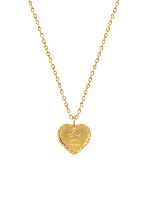 MAKA Titanium Steel Smooth Heart Minimalist Necklace 0
