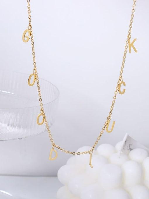 P642 gold 40+ 5cm Titanium Steel Letter Minimalist Necklace