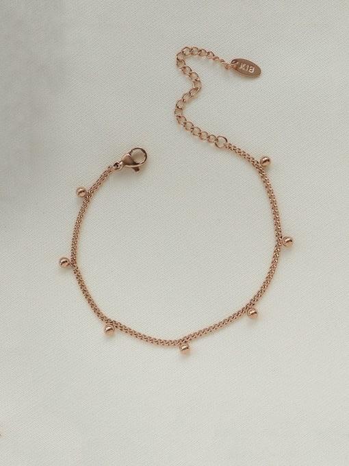 Rose Gold Bracelet 15 Titanium Steel  Bead Minimalist Link Bracelet