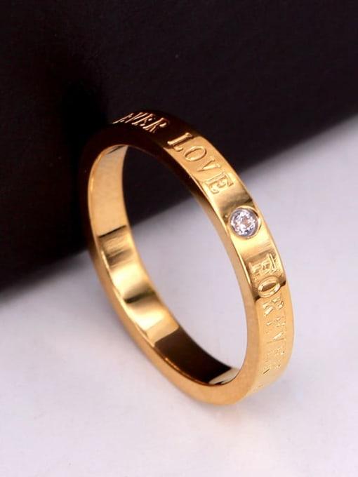 K.Love Titanium Steel Rhinestone Letter Minimalist Band Ring 2