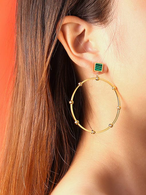 MAKA Titanium Steel Acrylic Geometric Minimalist Drop Earring 1