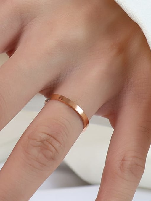 A005  a layer of rose gold Titanium 316L Stainless Steel Geometric Vintage Band Ring with e-coated waterproof